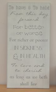'To Have & To Hold' Vintage Cream Large Wooden Wall Sign, British Made by Jacques Designs