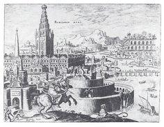 Jardines de la Antigüedad clásica. La ciudad de Babilonia con sus jardines colgantes. Dibujo de Maarten van Heemskerk (1572)