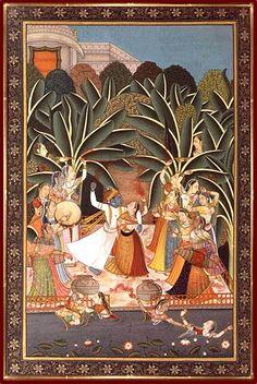 The Lord Travels to Indraprastha on Advice of Uddhava Radha Krishna Images, Lord Krishna Images, Krishna Art, Radhe Krishna, Saudi Arabia Culture, Indian Traditional Paintings, Indian Artist, Hindu Art, Tribal Art