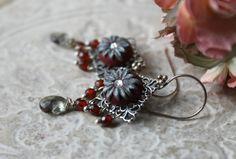 Garnet red CZ cluster earrings with Silver grey by Peelirohini, $52.00