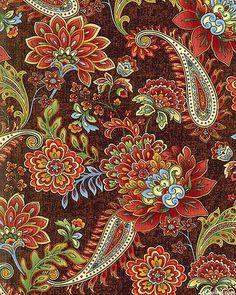 La Scala 6 - Symmetrical Paisley Florals - Quilt Fabrics from www . Design Textile, Textile Patterns, Flower Patterns, Fabric Design, Pattern Design, Print Patterns, Textiles, Paisley Art, Paisley Fabric