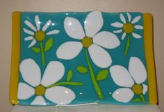 fused glass flower tray