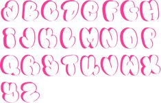 MyFonts: Bubble typefaces Type design information compiled and maintained by Luc Devroye. Graffiti Alphabet Styles, Graffiti Words, Graffiti Lettering Fonts, Graffiti Writing, Graffiti Artwork, Doodle Lettering, Bubble Letters Alphabet, Bubble Letter Fonts, Funky Fonts