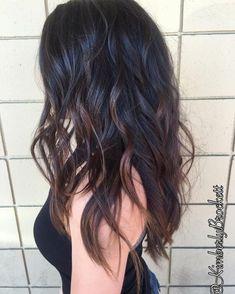 Wavy Black Long Layered Hair with Chocolate-Brown Balayage