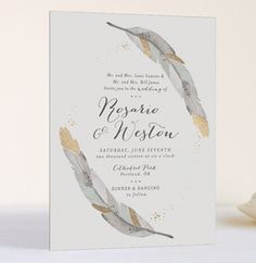 feather invite suite wedding gold foil minted
