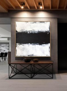 Large Original Abstract Painting Black And White Painting Painting Abstract Contemporary Art Original Palette Knife Art Living Room Decor Black white painting Minimal Large Art Canvas Abstract White Canvas Art, Black And White Wall Art, Black And White Painting, Black And White Abstract, Abstract Canvas, Painting Abstract, Textured Painting, Black Box, Diy Painting