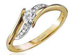 Engagement Ring 14k Yellow Gold And by gispandiamonds on Etsy, $990.00