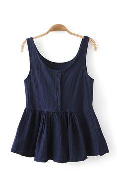 Dark Blue O-neck Falbala Hem Vest