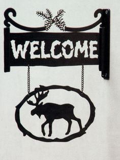 Moose Metal Welcome Sign with Bracket