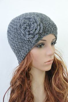 Hand knit hat   Charcoal Beanie with crochet flower by MaxMelody, $35.00