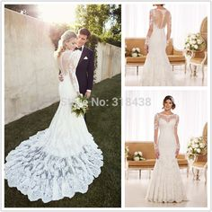 Find More Wedding Dresses Information about Mermaid Wedding Dress 2015 long Sleeve lace romantic fashionable Appliques bride dress lvory VESTIDO DE NOIVA sereia QW2341,High Quality dress jack,China dress details Suppliers, Cheap dress house from Sunbow Dress (advanced custom factory) on Aliexpress.com