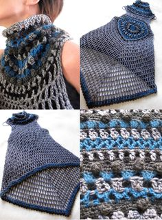 This is so pretty and the 2 ponchos on her site are equally a beatiful i with there was a english pattern. Love the turtleneck idea on sleeveless shell tunic ~t~ Crochet Tunic, Crochet Jacket, Crochet Yarn, Crochet Clothes, Knit Crochet, Crochet Woman, Crochet Fashion, Mantel, Crochet Projects