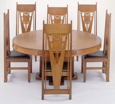 Dining table and chairs, George Grant Elmslie, 1910