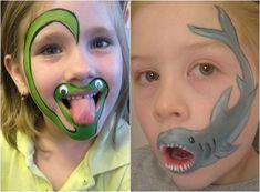 Schlange und Hai Motive auf dem Kinder gesicht