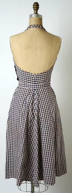 1943. Claire McCardell Cotton Sundress manufactured by Townley Frocks (American). (American designer 1904 - 1958).