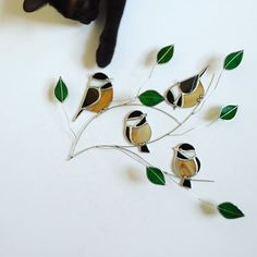 NEW!! 2016 Chickadee foursome group stained glass suncatcher , birds on a 3 dimentional wire branch adorned with green glass…