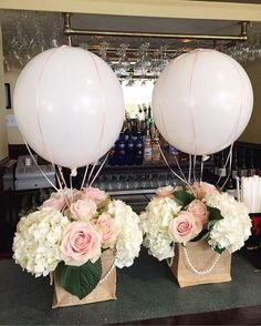 "23 Easy-To-Make Baby Shower Centerpieces & Table Decoration Ideasblue balloon baby block baby shower centerpieceHot Air Balloons & Nets 16 "", Balloons Bridal Shower Baby Shower Birthday Party Gender Reveal Bon Voyage Table Centerpiece Baby Shower Balloons, Baby Shower Themes, Baby Shower Decorations, Wedding Decorations, Shower Ideas, Baptism Table Decorations, Baby Ballon, Baby Theme, Hot Air Balloon Centerpieces"