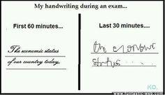 My Handwriting During Exams