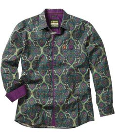 Amazon.com: Joe Browns Men's Paisley Party Shirt, Green/Purple ,