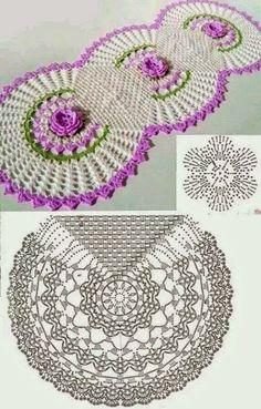 Cantinho da Jana: Gráfico caminho de mesa de crochê ♥️LCD-MRS♥️ with diagram.