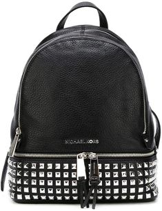 91709167d MICHAEL Michael Kors 'Rhea' studded backpack Mochila De Couro Preto,  Mochila Preta,