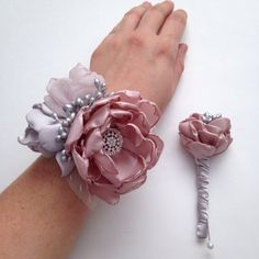 Corsage and Boutonniere Set - Pale Dusty Pink and Silver and Cream, Fabric Flowers, Fabric Flower Corsage, Fabric Wedding Flowers