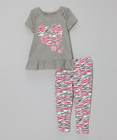 Take a look at this Gray Zebra Heart Tunic & Leggings - Infant, Toddler & Girls on @zulily today!