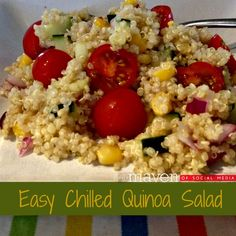 Easy Chilled Quinoa Salad. I didn't really follow a recipe...I just made a chilled quinoa salad. I used tomatoes, spinach, kale, broccoli, olive oil, lemon juice, salt...and I think that's all. Brian gave it a 9.5