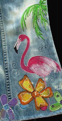 Distressed Painted Flamingo Denim Jeans Tropical Flowers
