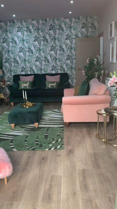 A tour of my vintage inspired pink and green living room. I've taken inspiration from the Art Deco hotels of Miami and added glam gold accents. decor diy videos Pink and green living room tour Art Deco Living Room, Glam Living Room, Living Room Accents, Living Room Green, Living Room Designs, Green Living Room Furniture, Living Room Decor Gold, Pink Living Rooms, Pink Green Bedrooms