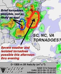 Severe weather likely, including isolated tornadoes, especially South Carolina, North Carolina, Virginia, possibly farther north given high wind shear values ahead of potent short-wave trough.    Stay tuned to local watches and warnings in these areas, have your NOAA weather radios charged, and be proactive in finding a shelter and having an action plan should severe weather strike.    Stay safe today.