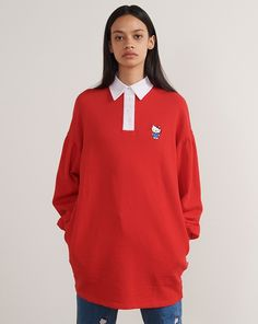 Hello Kitty x Lazy Oaf Rugby Dress - Dresses - Categories - Womens Hello Kitty Dress, Lazy Oaf, Rugby, How To Look Better, Long Sleeve Shirts, Street Wear, My Style, Outfits, Clothes