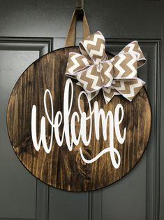 Wood Front Doors, Front Door Signs, Front Door Decor, Wooden Doors, Wreaths For Front Door, Door Wreaths, Wooden Signs, Door Tags, Be Natural