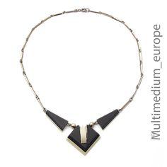 Jakob Bengel Galalit Bakelit Collier Art Deco 30er Jahre necklace 30s verchromt  | eBay