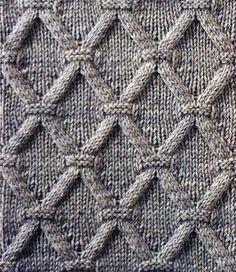 Рельефный узор ромбы спицами 6