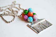 Balloon house necklace, Pixar Up inspired necklace, House necklace, Disney inspired jewelry, Flying house necklace