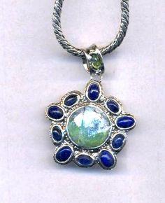 Roman glass necklace Designer Sterling silver by Bluenoemi on Etsy, $415.00
