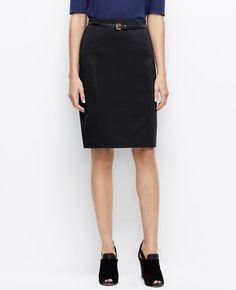 World's most comfortable & flattering BLACK Skirt!  Ponte Clean Pencil Skirt   Ann Taylor