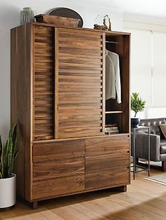 Reminiscent of Tansu Japanese design, Komo combines Asian influence with modern functionality. You can detach the top cabinet from the bottom, making it easy to move or fit anywhere in your home. Wardrobe Furniture, Entryway Furniture, Modern Bedroom Furniture, Home Office Furniture, Home Office Decor, Home Decor Bedroom, Furniture Design, Bedroom Ideas, Asian Home Decor