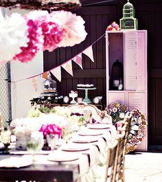 View of dessert table - Owl Baby Shower  like huge pom poms #whatsessential #nordicnaturals #babyshower