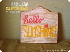 "DIY Wood Art ""Hello Sunshine"" Sign by DesignedbyDawnNicole, via Flickr"
