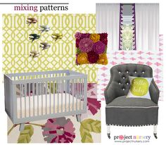 How to Mix Patterns Design Board - {Click through for a 3-step process for mixing patterns!} #nursery #design #designboard