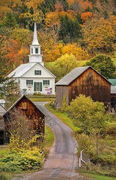 Pretty Little White Church in  Waits River, Vermont