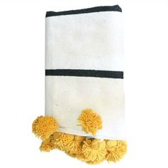 White with Black Stripes and Yellow Pom Poms