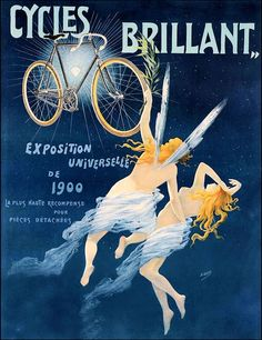 Cycles Brilliant 1900 France Vintage Poster Vintage Art Print Retro Bicycle Advertising Free US Post Low EU post by CharmCityPosters on Etsy