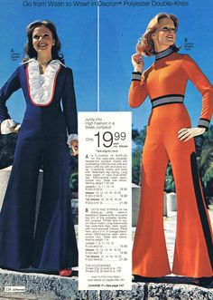 groovy bell bottom pantsuits - JCP 1975
