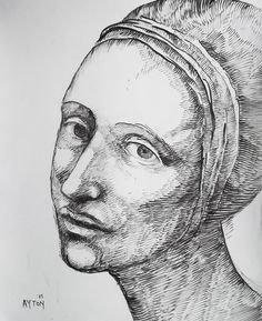 Woman in a Headdress, 2015 ink drawing by William T. Ayton.