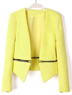 Yellow V Neck Long Sleeve Zipper Embellished Coat