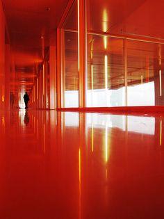 Orange corridor of the Mountain Dwellings in Ørestad, Copenhagen.  © Photo by Cbbyosoy