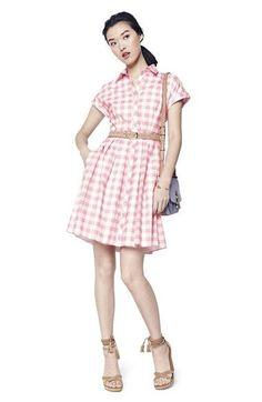Eliza J Check Cotton Poplin Shirtdress